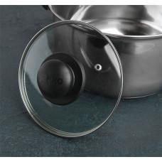 Крышка стеклянная Jarko, металлический ободок, пароотвод, пластиковая ручка-кнопка, d16 см