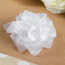 Бант для девочек с резинкой «Лилли», с бусинами, цвет белый, 9 см