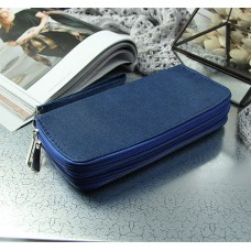 Кошелек женский на молнии Веста, 3 отдела, для карт, с ручкой, цвет синий, 19х3х10 см