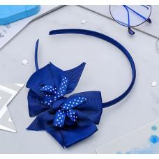 Ободок для волос бант Школьница, в горошек, цвет синий, 1 см