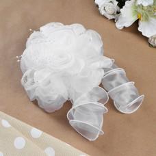Бант для девочек с резинкой «Букет роз», с лентой, цвет белый, 17 см
