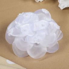 Бант для девочек с резинкой «Пион», цвет белый, 12 см
