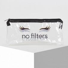Косметичка-футляр No Filters, плоская, отдел на молнии, 20,5х9,5 см