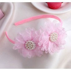 Ободок для волос Малышка, двойной бант, цвет розовый, 1 см