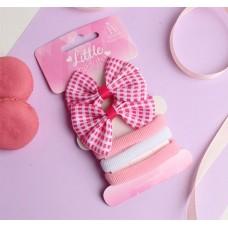 Набор для волос Карапунька: 2 зажима, 3 резинки, бантик в клетку, цвет розово-белый