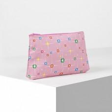 Косметичка простая Штрихи, отдел на молнии, цвет розовый, 19х1,5х10 см