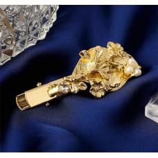 Зажим для волос Муза, сакура, золото, 5 см