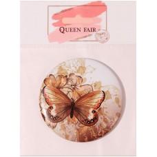 Зеркало компактное металлическое круглое Бабочки, без увеличения, цвет микс, d7,5 см