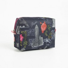 Косметичка дорожная на молнии «Париж», цвет чёрный, 18х7х13 см
