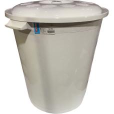 Бак пластиковый с крышкой, цвет белый, h49 см, d43 см, 50 л