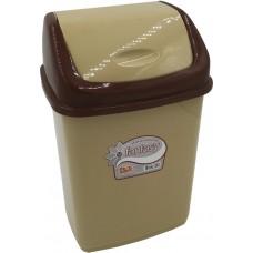 Ведро для мусора пластиковое с плавающей крышкой Фантазия, цвет коричнево-бежевый, 18х15х26 см, 5 л