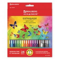 Карандаши цветные BRAUBERG Бабочки, трехгранные заточенные, корпус с полосками, 24 цвета