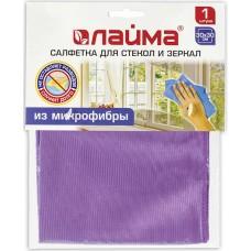 Салфетка для стекол и зеркал Лайма, гладкая микрофибра, цвет фиолетовый, 30х30 см