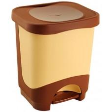 Ведро для мусора пластиковое с педалью Бинго, съемный контейнер, цвет бежево-коричневый, 24х21х29 см, 8 л