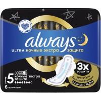 Прокладки Always (Олвейс) Ultra Night экстра, 7 капель, 6 шт