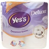 Туалетная бумага YES'S Deluxe, цвет белый, 3-слойная, 4 рулона, 18 м