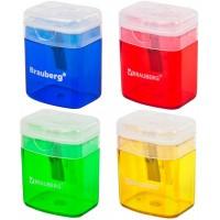 Точилка прямоугольная Brauberg (Брауберг) OfficeBox, с контейнером и крышкой, цвет ассорти