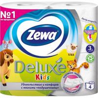 Туалетная бумага Zewa Deluxe Kids (Зева Делюкс Кидс), 3-х слойная, 4 рулона