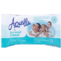 Салфетки влажные для всей семьи Aquella с Антибактериальным эффектом, 15 шт