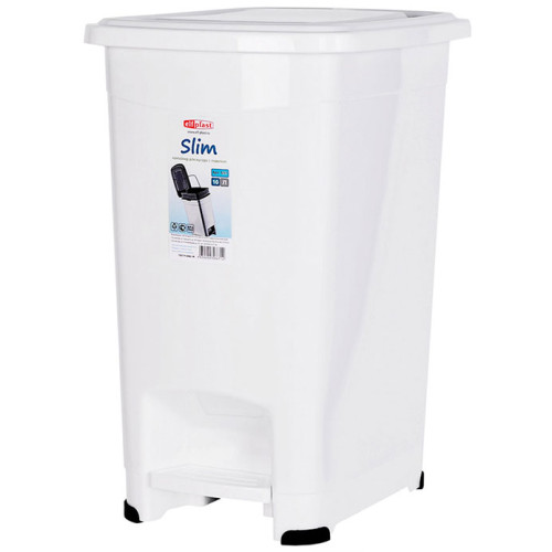 Ведро для мусора пластиковое с педалью Slim, внутреннее ведро, цвет белый, 30,5х24х39,5 см, 15 л