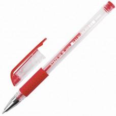 Ручка гелевая с грипом Staff (Стафф) Everyday, корпус прозрачный, цвет красный