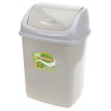 Ведро для мусора пластиковое с плавающей крышкой Фантазия, цвет светло-серый, 18х15х26 см, 5 л