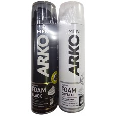 Подарочный набор для мужчин Arko (Арко): пена для бритья Black 200 мл + пена для бритья Crystal 200 мл