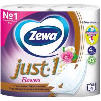 Туалетная бумага Zewa Just1 (Зева Джаст) Цветочный аромат, 4-х слойная, 4 рулона