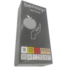 Перчатки медицинские Benovy (Бенови) из натурального латекса, повышенной прочности, размер S, 25 пар/50 шт