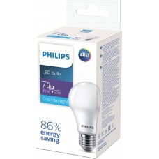 Лампа светодиодная Philips (Филипс), 7 Вт, цоколь Е27, грушевидная, матовая, 6500К, 500Лм