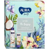 Подарочный набор Aura Beauty Вe Happy: крем-гель для душа Кокос и миндаль 250 мл + крем для рук восстанавливающий с маслом ши 75 мл