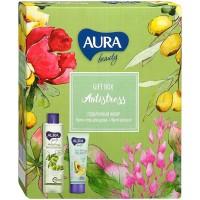 Подарочный набор Aura Beauty Antistress: крем-гель для душа Протеины риса и олива 250 мл + крем для рук обогащающий с маслом авокадо 75 мл