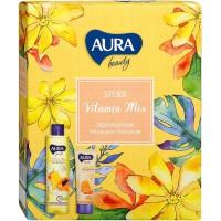 Подарочный набор Aura Beauty Vitamin Mix: гель для душа Манго и папайя 250 мл + крем для рук питательный Мед и D-пантенол 75 мл