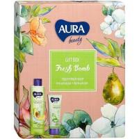 Подарочный набор Aura Beauty Fresh Bomb: гель для душа Авокадо и розмарин 250 мл + крем для рук увлажняющий Алоэ и глицерин 75 мл