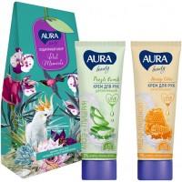 Подарочный набор Aura Beauty Best Moments: крем для рук увлажняющий Алоэ и глицерин 75 мл + крем для рук питательный Мед и D-пантенол 75 мл