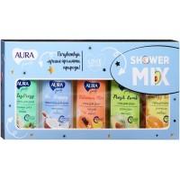 Подарочный набор Aura Family Shower Mix: гели для душа 5 видов по 50 мл