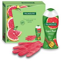 Подарочный набор Palmolive (Палмолив) Super Food: гель для душа Грейпфрут и сок имбиря 250 мл + перчатка