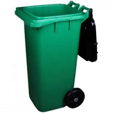 Бак-контейнер пластмассовый универсальный на колесах, откидная крышка, зеленый, 120 л