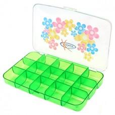 Контейнер для мелочей пластмассовый (прозрачный), 15 секций, 15х10 см, h2,5 см