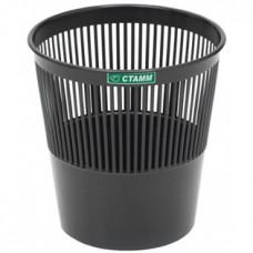 Корзина для бумаг СТАММ (черная), 9 л