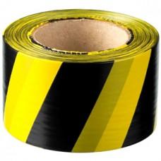Лента ПВД сигнальная (желто-черная), 75 мм*200 м