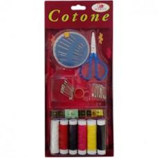 Набор для шитья 11 предметов: цветные нитки - 6 штук; сантиметр; булавки; иголки; наперсток