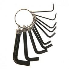 Набор ключей шестигранников TUNDRA basic, 10 штук на кольце (1.5 - 10 мм)