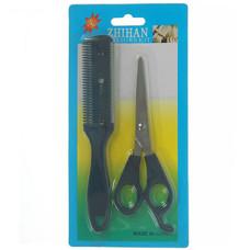 Набор парикмахерский: ножницы с упором и филировочные (цвет чёрный)