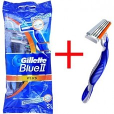 Одноразовые станки для бритья Gillette Blue II Plus (5 шт) + одноразовый станок Blue 3 (1 шт)
