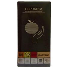 Перчатки медицинские из натурального латекса, повышенной прочности, размер M, 25 пар/50 шт