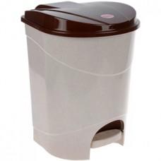 Ведро для мусора с педалью пластмассовое (цвет бежевый мрамор) 19 л, в комплекте с внутренним ведром