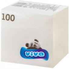 Салфетки бумажные Viva (Вива) белые, 100 штук