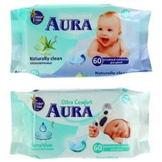 Влажные салфетки для детей Aura (Аура) Ultra Comfort, 60 шт
