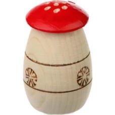 Солонка-перечница деревянная Грибы, цвет красный